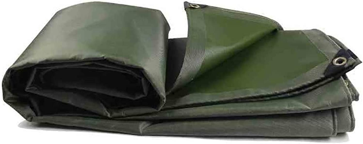 LXLIGHTS Heavy Duty Tarpaulin Awning Cloth, Outdoor Linoleum Truck Tarpaulin Waterproof Sun Predection Canvas, Polyester 0.55MM Thickness 580g \m2 (color   Green, Size   400  500cm)