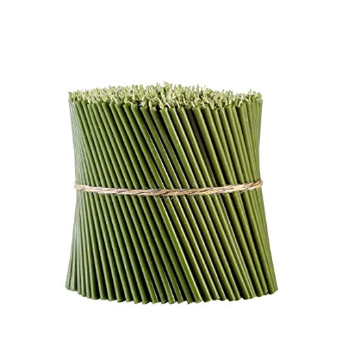 Danilovo - Velas de cera de abeja verde, velas rituales, velas altas, iglesia de cera de abeja, velas Orthodox N80, altura: 18,5 cm