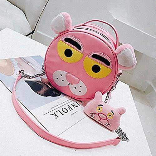 DINGX Cartoon kle runde MonsterKettentasche mit niedlichen großen Augen und niedlicher Tasche, Street Shot kle Tasche,Farbe:A203green[Single-eyedfrog] Chuangze (Color : A204pink[pinkleopard])