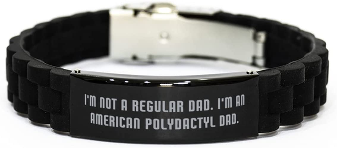 Useful American Polydactyl Cat Black Glidelock Clasp Bracelet, I'm Not a Regular Dad. I'm, Present for Cat Lovers, from Friends