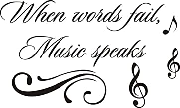 Homefind When Words Fail, Music Speaks - Inspiring Quotes Sayings Words Art Decals Inspirational Lettering Vinyl Wall Art for Music Room Living Room Bedroom 22