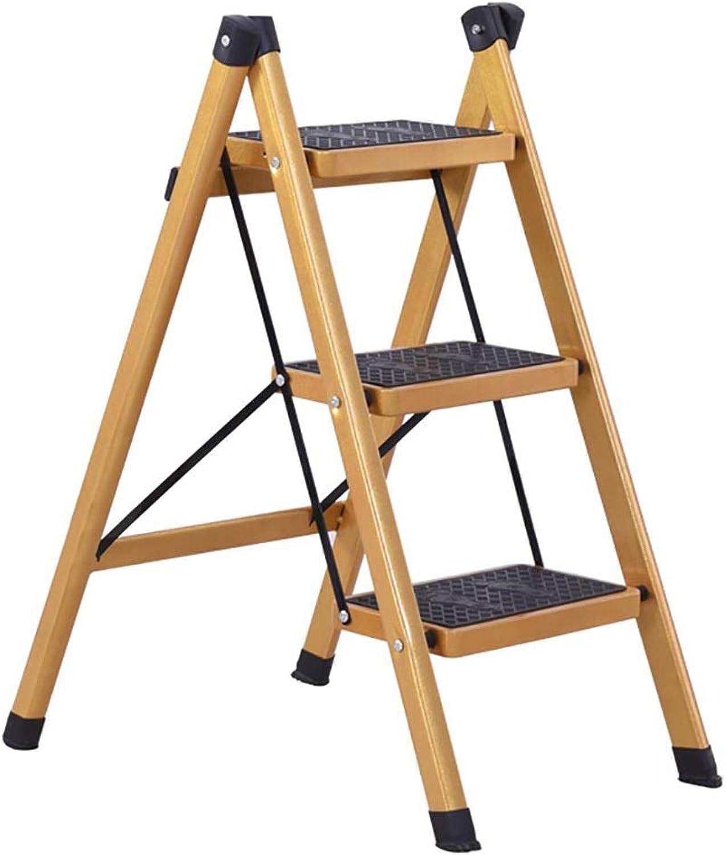 Yellow gold Household Folding Ladder New Ladder Two Step Ladder Three Step Ladder Kitchen Utensils Decorations (Size   41  66  80cm)