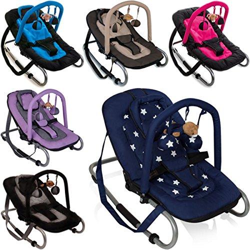 Babywippe BABY RELAX (Inklusive abnehmbarem Spielbogen) (Dunkelblau Stars)