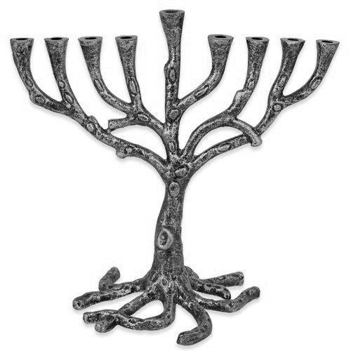 Tree of Life Menorah Rustic Gold Finish for Hanukkah (Rustic Pewter Finish)