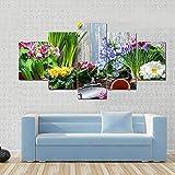 AAAKK Cuadro sobre Lienzo, Canvas Wall Art, Imprimir Impresiones de Lienzo, Jardinero plantando Flores de Primavera, con Marco Listo para Colgar para Sala de Estar Décor