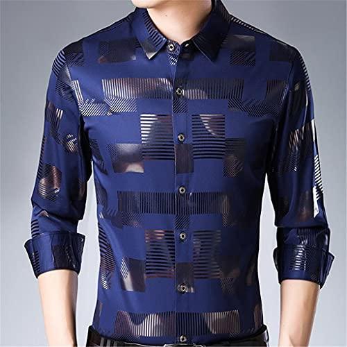 SLATIOM Camisa social de manga larga para hombre, ropa de calle de primavera, camisas florales casuales,...