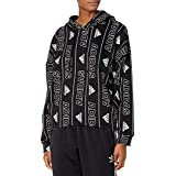adidas womens Badge of Sport All Over Print Overhead Hoodie Core Black/White Small