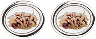 Royal Lion Cufflinks (Oval) Golden Retriever Puppies