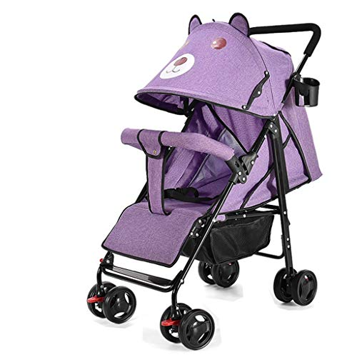 Carritos y sillas de Paseo El Cochecito de bebé portátil Ultraligero se Puede reclinar fácilmente y se Puede Plegar fácilmente. Bebé Sillas de Paseo (Color : Purple)
