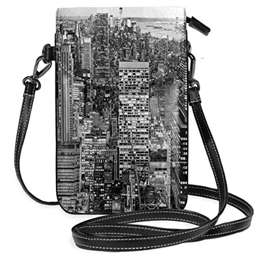 Jiger Women Small Cell Phone Purse Crossbody,Panorama Of Manhattan High Buildings Of City Famous Monument USA Black And White Photo