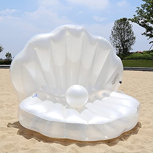 MATICO Pearl Shells Water Floating Sofa Inflatable Round Floating Row Swimming Pool Giant Shell Swim Floaties Summer Lounger Raft Beach Toys for Party