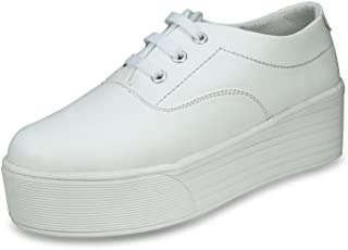BEONZA Women White Sneakers Casual Shoes