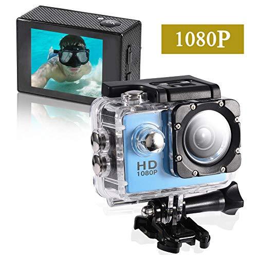 Action Cam,Subacquea Ultra HD Sport Action Camera, Videocamera Impermeabile Full HD 1080P Cam Subacquea Fotocamera profondità 30m Schermo LCD da 2 Pollici per Sport estremi, Sport Acquatici (Blu)
