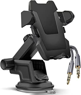 VViViD REV Adjustable Adhesive Dash Mounted Automotive Universal Cellphone Cradle Including White Woven Aux Cable (1 Pack)