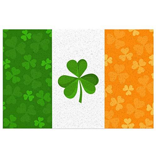 Ouqiuwa - Felpudo de bienvenida, bandera irlandesa con trébol de trébol para el día de San Patricio (PVC, para decoraciones), 60 x 40 cm