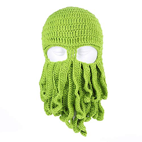 Mipan Gorro de punto para mujer y hombre, de invierno clido pulpo, para barba, mscara de calamar