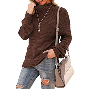 Women's Turtleneck Oversized Sweaters Batwing Long Sleeve Pullover Lo...