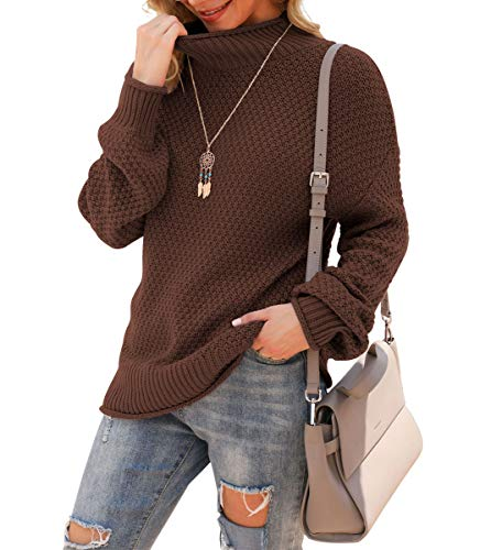 Jouica Womens Turtleneck High Neck Sweaters Long Sleeve Knit Autumn Casual Fashion Pullover Sweaters Jumper Outerwear,Brown,Medium