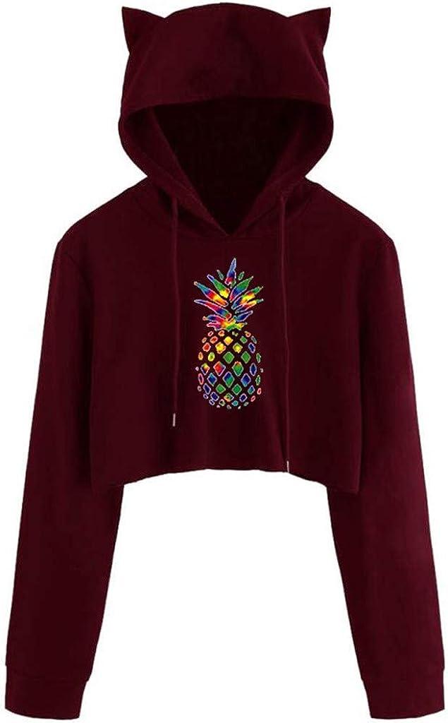 Crop Hoodie for Women Teen Girls Rainbow Color Pineapple Prin Long Sleeve Pullover Sweatshirt Crop Top with Ear