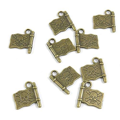 Antieke Bronzen Tone Sieraden Charms Y8JL2P Piraat Schedel Vlag Craft Art maken Crafting Kralen Antiek brons