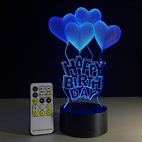 Nachtlampje Alles Gute verjaardagscadeau Liefde Luchtballonnen 3D lamp LED tafellamp acryl nachtlamp met 7 kleuren veranderende Remote Touch Switch Lava lamp