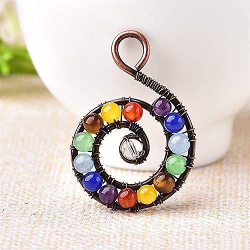 ABCBCA 1PC Moda Colgante Piedra Natural Joyas de Colores Amatista Reiki Espiral Mineral Chakra Energía de Cuarzo for los Hombres Cristal de Las Mujeres (Color : 1PC)