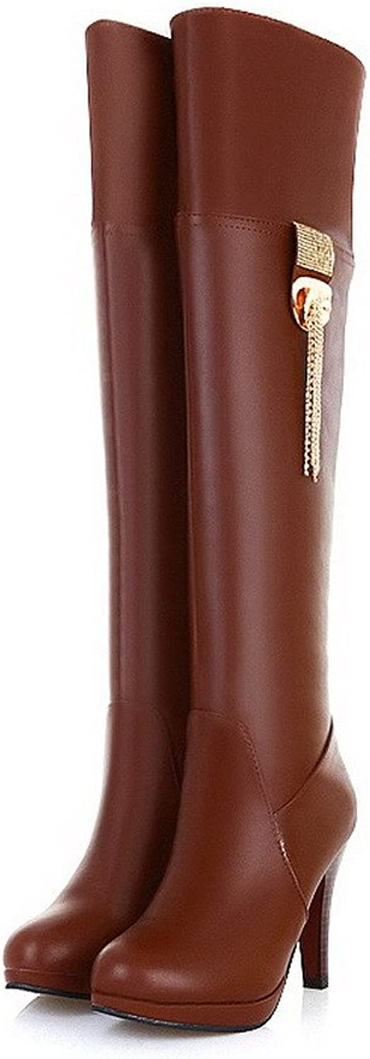 WeenFashion Womens Closed Round Toe High Heel Soft Material PU Solid Boots with Metalornament, Brown, 7.5 B(M) US