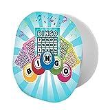 Soporte plegable para teléfono celular, ilustración colorida de tarjetas de bingo y bolas sobre rayos de sol azules estilo retro, soporte ajustable para teléfono móvil