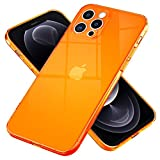 NALIA Klare Neon Handyhülle kompatibel mit iPhone 12 Pro Max Hülle, Transparente Bunte Silikon Schutzhülle Durchsichtig Flexibel Dünn, Soft Hülle Phone Cover Handy-Tasche Etui Backcover, Farbe:Orange