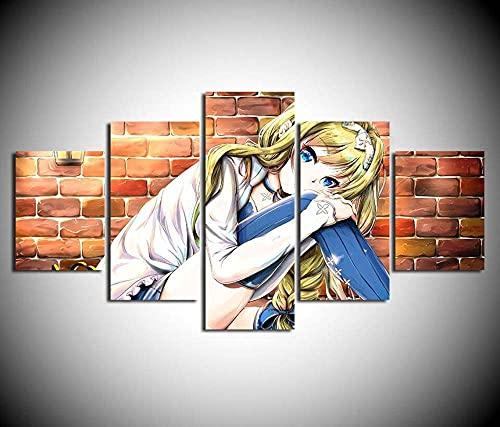 VYQDTNR 5 Piezas de Arte de Pared de Lienzo Abstracto, Espada Arte en línea Anime Carteles de Imágenes, Decoración de Sala de Estar y Dormitorio, Impresión HD de Lienzo