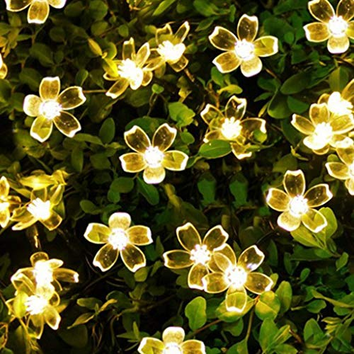 Juesi Solar Lights Garden Decoration, 23ft 50LED Cherry Blossom Fairy Lights, Waterproof Strip Lights for Outdoor Christmas, Patio, Lawn, Garden, Holiday Party Decor