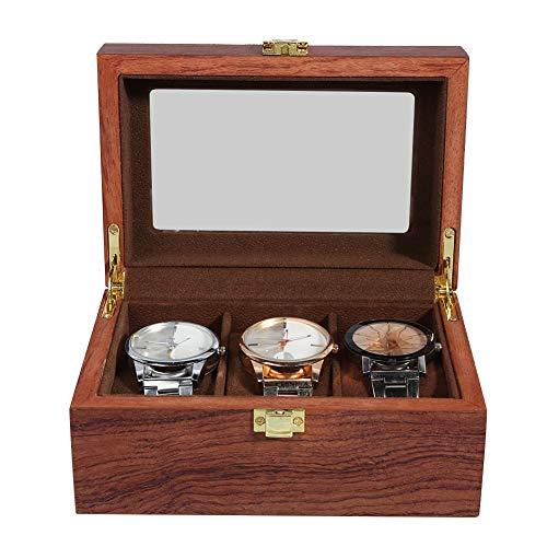 Lv. life Aufbewahrungsbox für Uhren, 3-Gitter-Uhrenschachtel aus Holz Transparentes Fenster rutschfeste Aufbewahrungsbox für Uhren mit Schloss