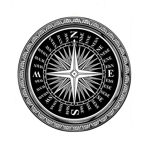 Wolala Home Modern Simple Round Rug Black and White Compass Pattern Round Area Rugs Thin (3'3x3'3)