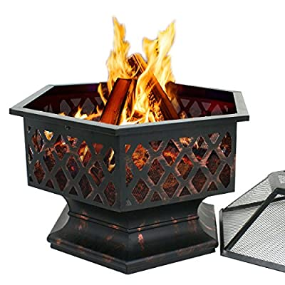 "ZenStyle Hex Shaped 24"" Fire Pit Outdoor Oil-Rubbed Bronze Heavy Steel Firepit Hexagon Wood Burning Fireplace for Patio, Backyard, Garden, Outdoor"