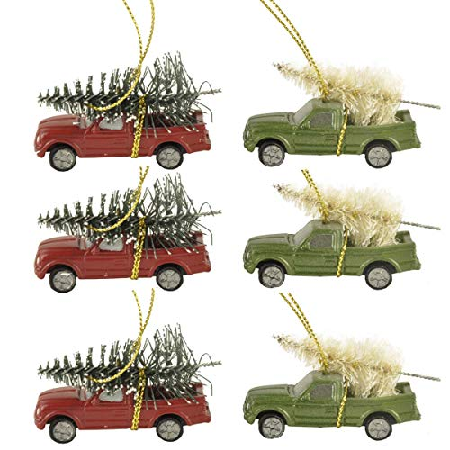 Cici & Jimmy's 6PCS 2.17' Long Christmas Ornament Pickup Truck with Pine Tree Ornament for Home Holiday Decor Gifts