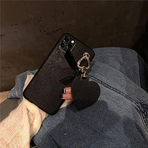 Carcasa De Telefono Funda DeSilicona con Llavero De Amor De Cuero De Japón 3D para iPhone 12 Pro MAX Mini 11 Pro MAX XR X XS MAX 7 8 Plus 6 S SeLi