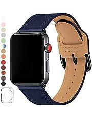 SUNFWR Klockarmband som är kompatibla med 38 mm, 40 mm, äkta läder, för män och kvinnor, Smart Watch rem kompatibelt med Watch Series 5, Series 4, Series 3/2/1