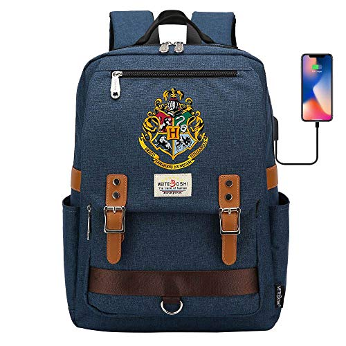 Zaino Hogwarts School Of Magic, borsa da scuola Harry Potter, zaino sportivo per il tempo libero 16,5 * 11,8 * 6,3 pollici blu navy