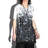 Tシャツ メンズ ロング丈 カットソー AS SUPER SONIC アズスーパーソニック ティーシャツ 変形 ビックプリント 幾何学 ブロック フォトプリント ホワイト 白