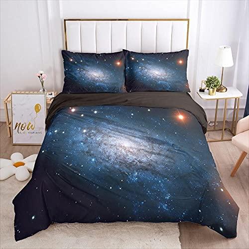 QDoodePoyerJuego de Cama - Juego de Funda Edredón 135x200cm Universo Colorido Estrellas con 2 Fundas de Almohada 50x75cm de Microfibra y Suave Juego de Cama para niños y niñas