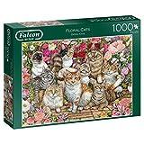 Jumbo 11246 Falcon de Luxe Katzen in Blumen, 1000-teiliges Puzzle
