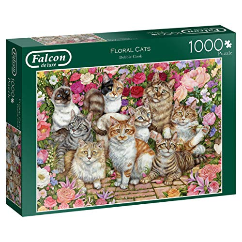 Jumbo- Falcon de Luxe-Puzzle da 1000 Pezzi con Gatti Floreali, Multicolore, 11246
