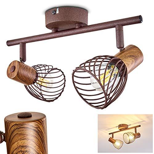Deckenleuchte Arjen, Deckenlampe aus Metall/Holz in Rost/Braun, 2-flammig, mit verstellbaren Strahlern, 2 x E14 -Fassung max. 40 Watt, Spot im Retro/Vintage Design, für LED Leuchtmittel geeignet