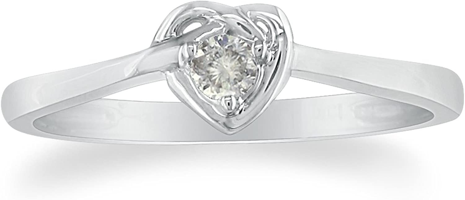 Diamond Heart Solitaire Promise Engagement Ring in Sterling Silver, Ring Size...