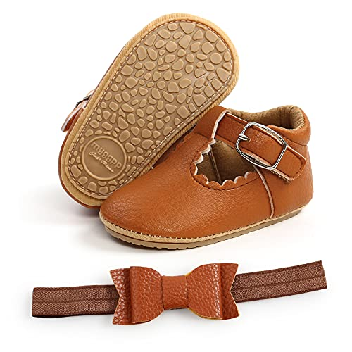 2pcs/Set Baby Girl Mary Jane Soft Flats with Bowknot Headband Shoes Non-Slip Infant First Walkers (#1 Brown, 6_Months)