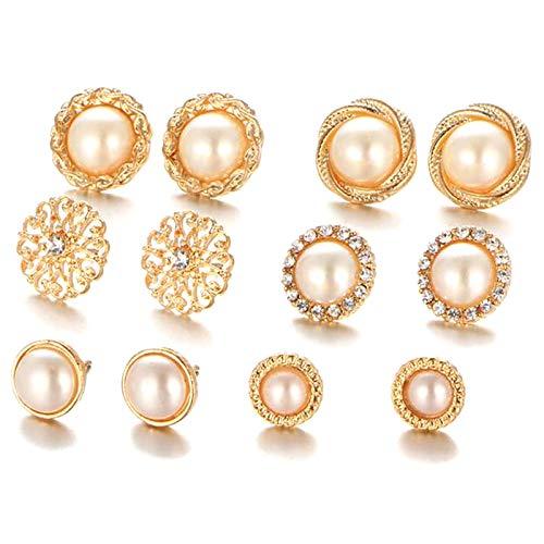 COSYOO 6 Pairs Rhinestone Stud Earrings Set Fashion Faux Pearl Earring Set Vintage Crystal Ear Studs