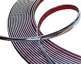 Aerzetix: 12mm 4.5m Bande Baguette adhésive Couleur Chrome Nickel Argent