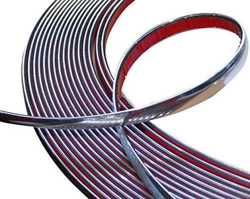 AERZETIX - Striscia adesiva decorativa in nichel cromato per auto color argento 12mm 4.5m