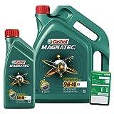 1 L + 5 L = 6 Liter Castrol Magnatec 5W-40 C3 Motoröl inkl. Castrol Ölwechselanhänger