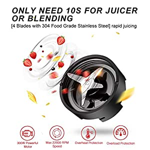 Juicer, USUGER Juicer Machine Vegetable Fruit Juicer Extractor, Stainless Steel Juicer Maker with Recipe Book Portable Blender for Shake and Smoothies, Easy to Clean, BPA Free Plus Cleaning Brush
